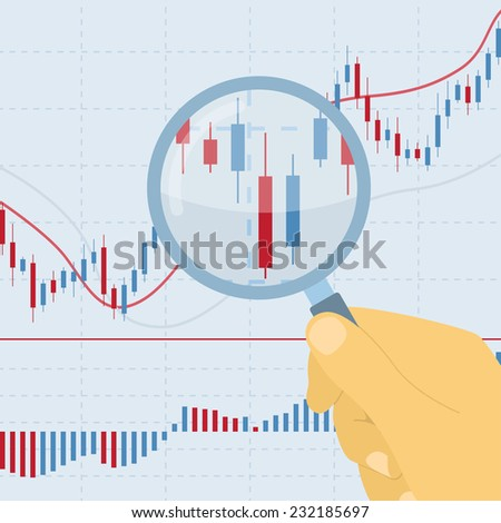 picture of human hand holding magnifying glass on forex chart - stock photo
