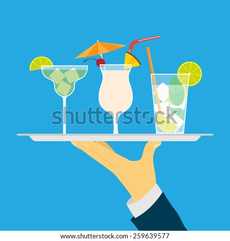 picture of human hand holding tray with cocktails, flat style illustration - stock photo