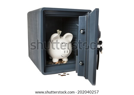 Picture of Isolated Fireproof Vault Safe On White Background With Keys, Coins, Money and White Smiling Ceramic Piggy Bank Safe and Sound - stock photo