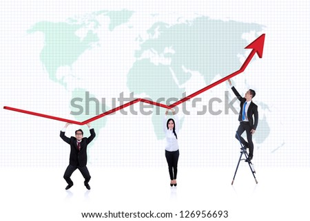 Picture of line chart with business people underneath it on world map background - stock photo