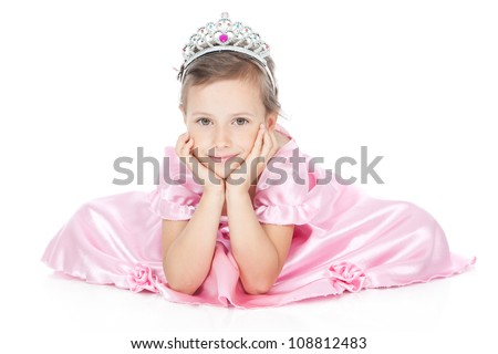 Picture of little princess girl in silver crown and pink dress over white - stock photo