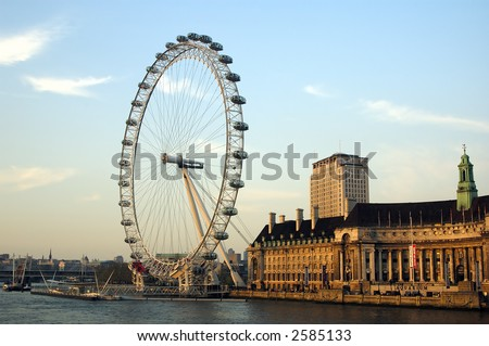Picture of London Eye and water on a dunny English afternoon - stock photo