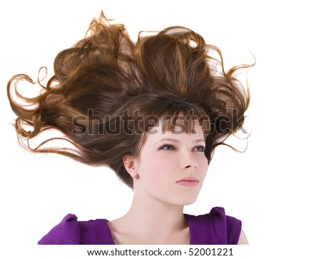 picture of lovely woman with long red hair - stock photo