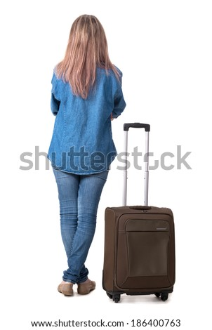 Picture of lovely woman with suitcase on a white background - stock photo