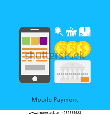 picture of mobile phone, credit card, coins and icons, flat style illustration, online payment, online shopping concept - stock photo