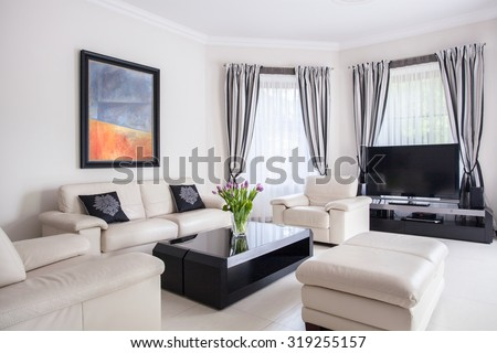 Picture of modern designed living room in fancy villa - stock photo