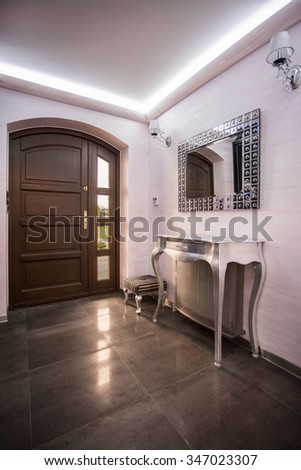 Picture of modern house hall with diamond mirror - stock photo