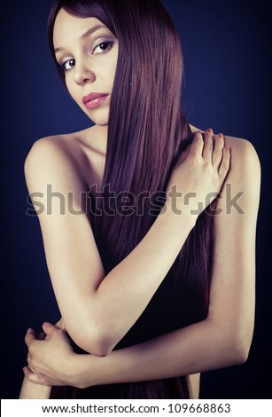Picture of naked brunette with long hair - stock photo