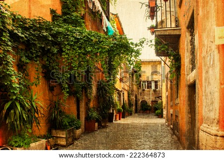 Picture of narrow typical street of Rome stylized like retro vintage picture. - stock photo
