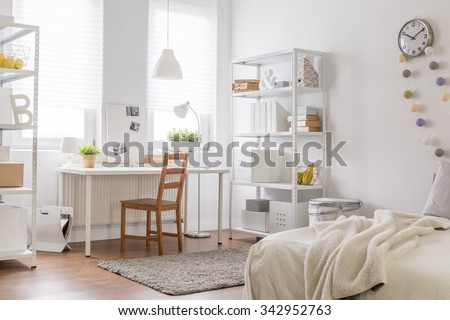 Picture of new room with vintage wood chair - stock photo