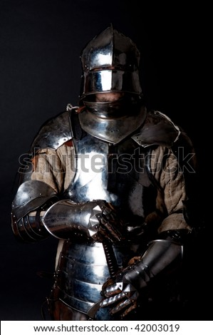 Picture of noble knight in armour - stock photo