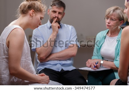 Picture of people during alcoholics anonymous meeting - stock photo