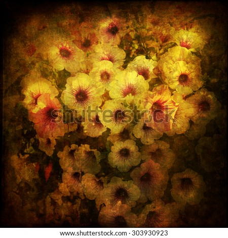 picture of petunia flowers altered with a dark grunge texture - stock photo