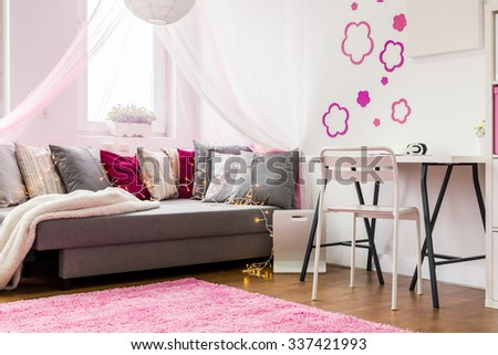 Picture of pink and white interior for girl - stock photo