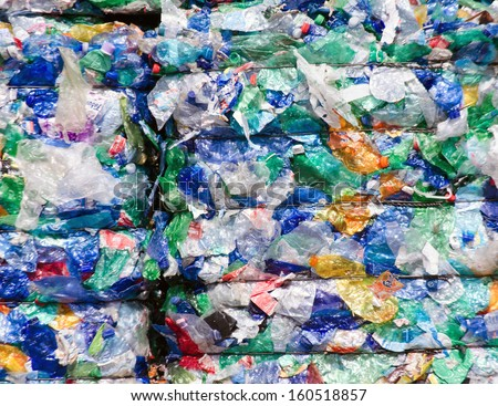 picture of recycled plastic pressed to bales - stock photo