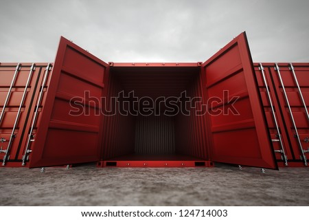 Picture of red open containers in the row. - stock photo