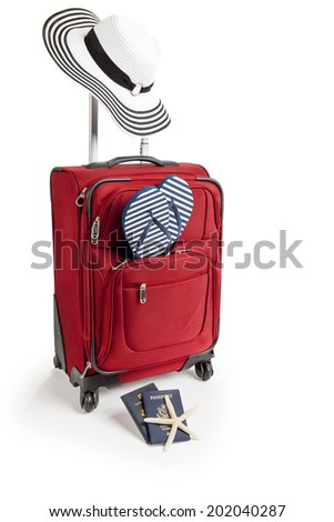 Picture of Red Suitcase Ready for Travel To Beach Vacation With Sandals, Passport, Star fish, Beach hat and Flip Flops on Isolated white background - stock photo