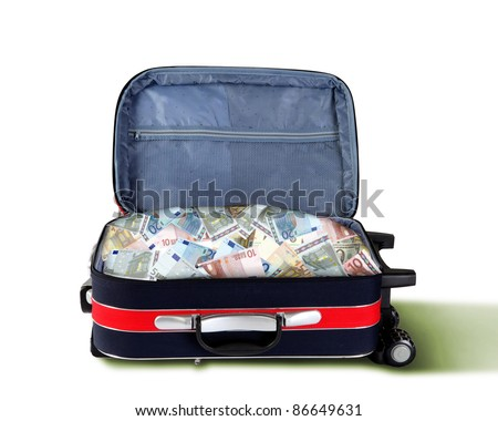Picture of red travel suitcase full of banknotes - stock photo