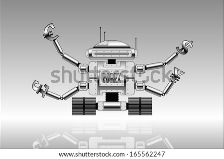 picture of robot with currencies signs at the end of hands. Forex theme. - stock photo