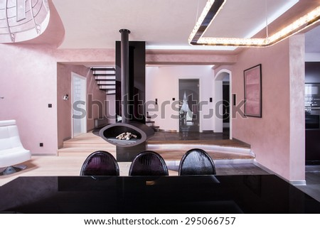 Picture of rose and violet designed interior - stock photo