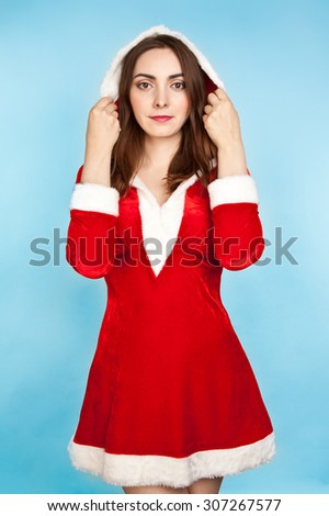 Picture of sexy beautiful woman in new year costume - stock photo