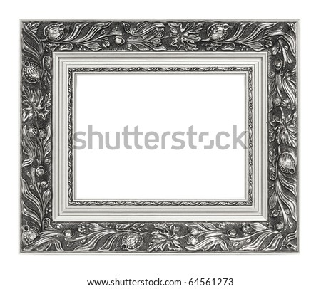 Picture of silver vintage art frame over white - stock photo