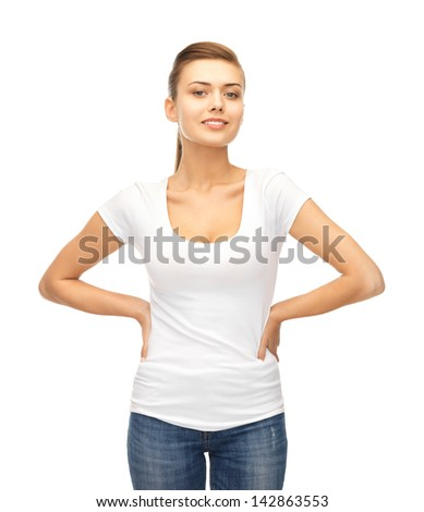 picture of smiling woman in blank white t-shirt - stock photo