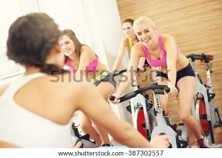 Picture of sporty group of women on spinning class - stock photo