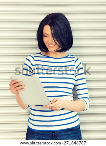 picture of student girl with tablet pc - stock photo