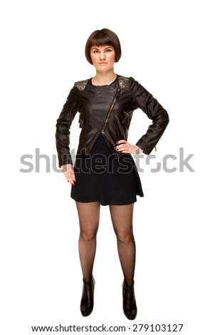 Picture of stylish woman in black jacket with shoulder loops - stock photo