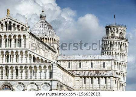 Picture of the Cathedral Santa Maria Assunta and Leaning Tower of Pisa at the Miracles place in Italy, Europe - stock photo