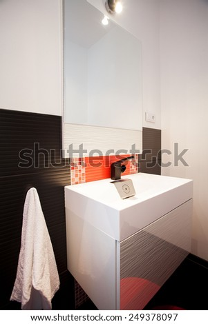 Picture of the clean fashionable bathroom in modern house - stock photo