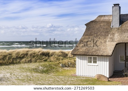 Picture of the coast of the Baltic Sea with dune grass, house and sea in the background, Germany - stock photo