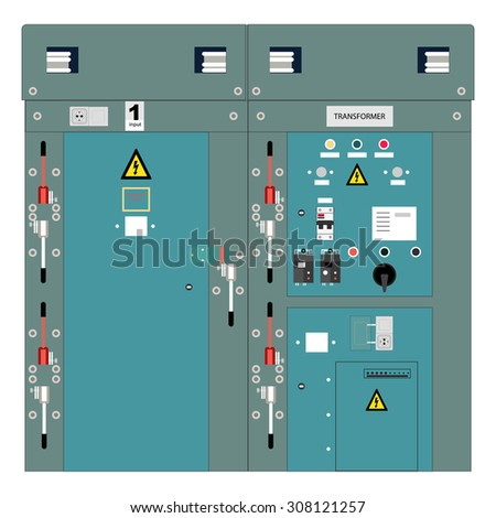 Picture of the electrical panel, electric meter and circuit breakers,high-voltage transformer - stock photo
