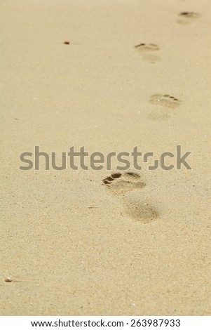 picture of the foot prints on sand - stock photo