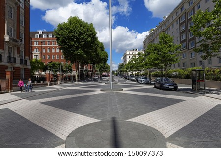 Picture of the streets of the wealthy Kensington Town in London  - stock photo