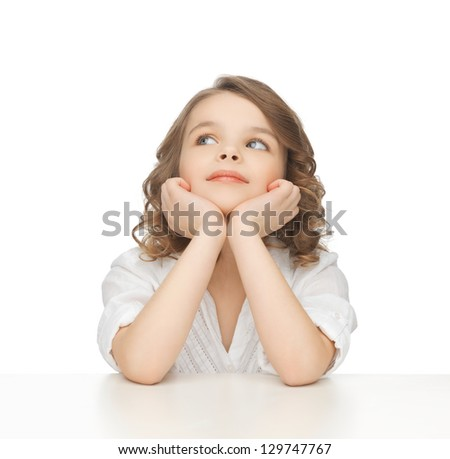 picture of thinking pre-teen girl in casual clothes - stock photo