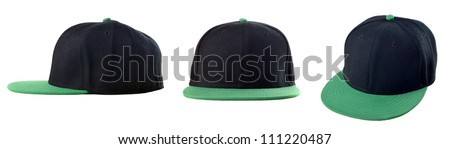 Picture of three view of blank cap on white background - stock photo