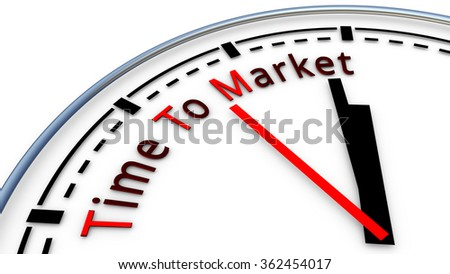 Picture of Time To Market clock concept. Time used to design a new product and bring it on the market - stock photo