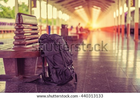 Picture of travel in holiday by train at train station,vintage tone. - stock photo