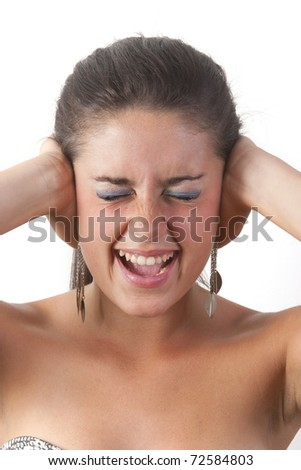 picture of unhappy woman with hands on ears - stock photo