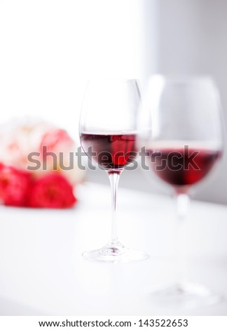 picture of wine glasses on the table in restaurant - stock photo
