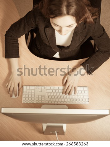 Picture of woman at the work place - stock photo