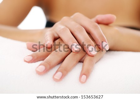 Picture of woman's beautiful hands with manicure - stock photo