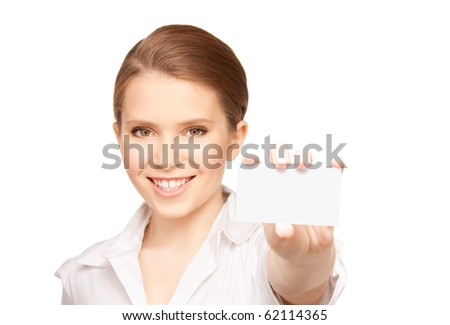 picture of woman with business card over white - stock photo