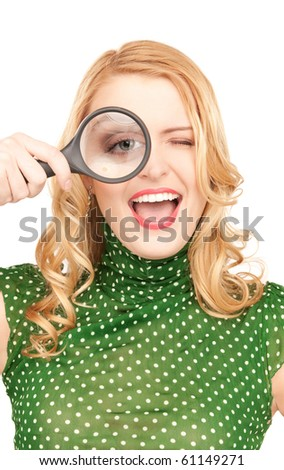 picture of woman with magnifying glass - stock photo