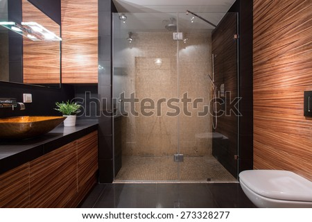 Picture of wooden details in luxury bathroom - stock photo