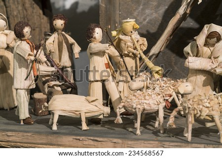 Picture of wooden Nativity Scene, handcarved. - stock photo