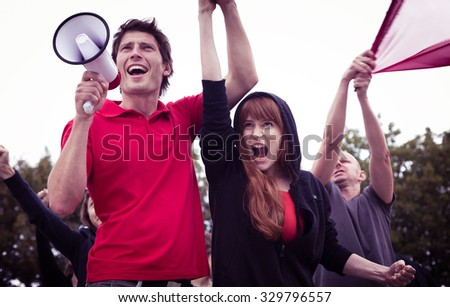 Picture of young and active participants of student revolution - stock photo