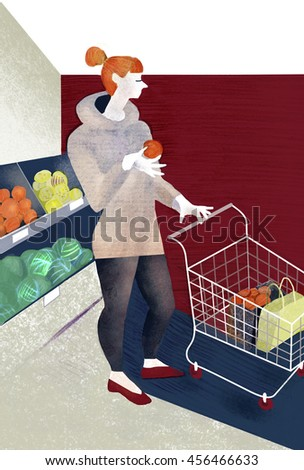 Picture of young woman in supermarket buying fruits. Illustration for diet theme, food shopping, vegetarian lifestyle.  - stock photo